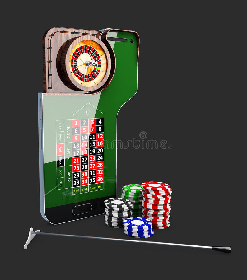 Casino roulette wheel with casino chips, 3d illustration. Casino roulette wheel with casino chips. 3d illustration stock illustration