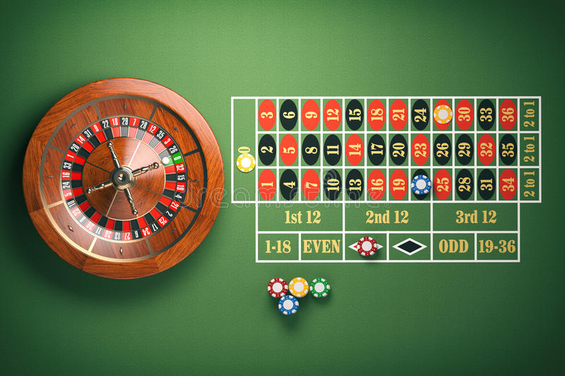 Casino roulette wheel with casino chips on green table. Gambling. Background. 3d illustration vector illustration