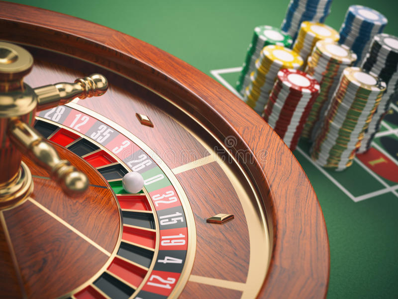 Casino roulette wheel with casino chips on green table. Gambling. Background. 3d illustration royalty free illustration