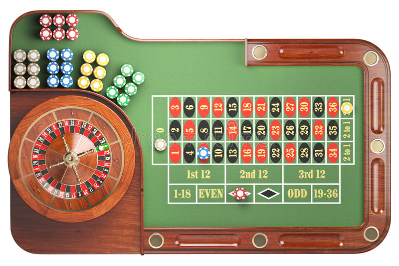 Casino roulette wheel with casino chips on green table isolated. On white background. Gambling. 3d illustration vector illustration
