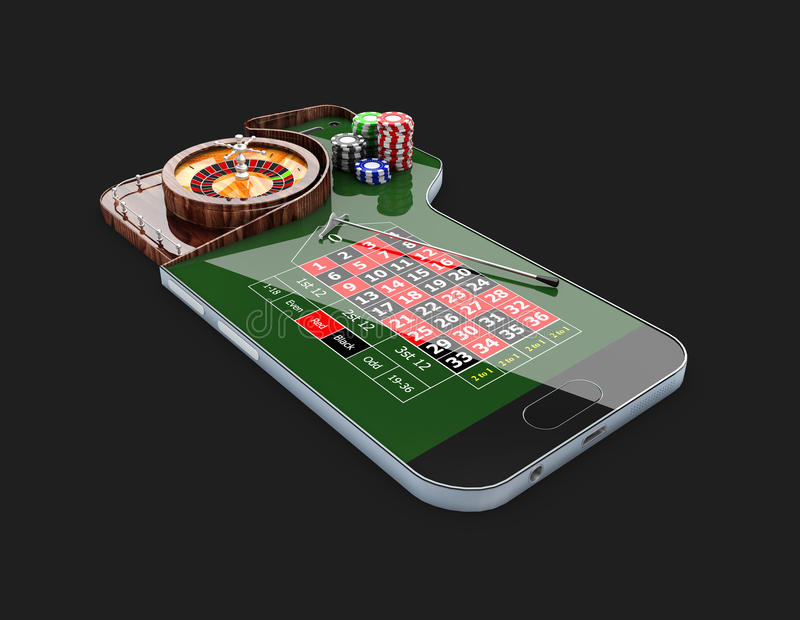 Casino roulette wheel with casino chips, on phone screen, 3d illustration. Casino roulette wheel with casino chips, on phone screen. 3d illustration royalty free illustration