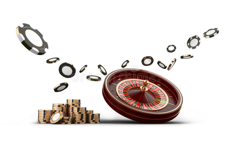 Casino roulette wheel chips isolated on white. Casino game 3D chips. Online casino banner. Black realistic chip. Casino roulette wheel chips and dice isolated on vector illustration