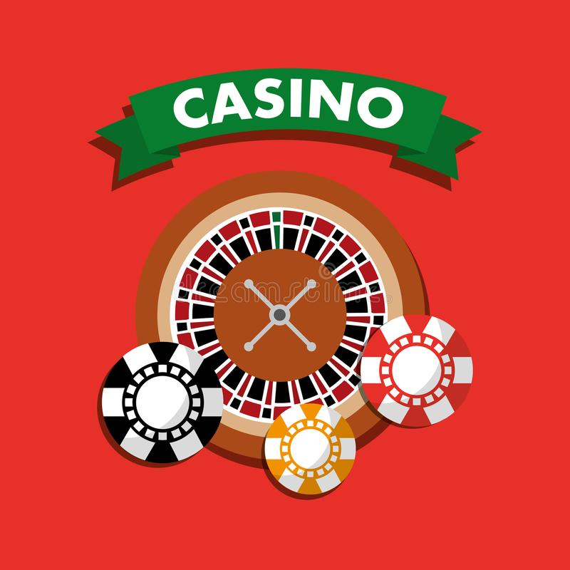 Casino roulette wheel chips gamble symbol. Vector illustration stock illustration
