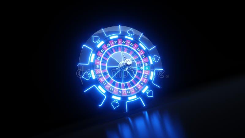 Casino Roulette Wheel and Chips Gambling Concept - 3D Illustration stock illustration