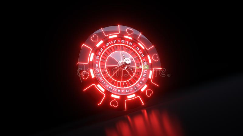 Casino Roulette Wheel and Chips Gambling Concept With Neon Lights - 3D Illustration. Casino Gambling Futuristic Concept, Roulette Wheel  and Poker Chips 3D vector illustration