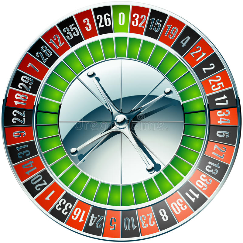 Casino roulette wheel with chrome elements vector illustration