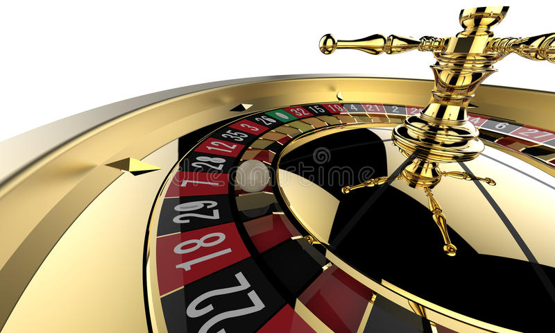 Casino roulette wheel. Close up. 3D render stock illustration