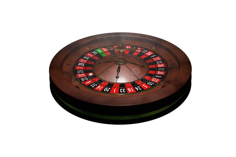 Casino roulette wheel. 3D render. Casino roulette isolated on white. 3D render royalty free illustration
