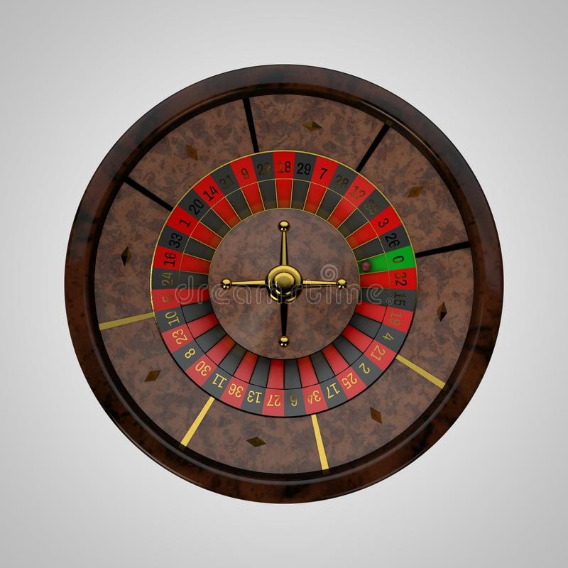 Casino roulette wheel. 3D rendering illustration.Top view. royalty free illustration