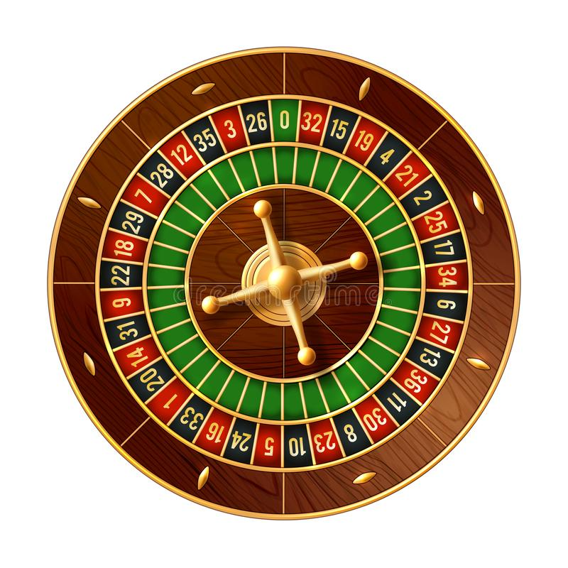 Casino roulette wheel 3d vector of gamble game. Casino roulette wheel game 3d vector of gambling industry. French or american style roulette with wooden ball stock illustration