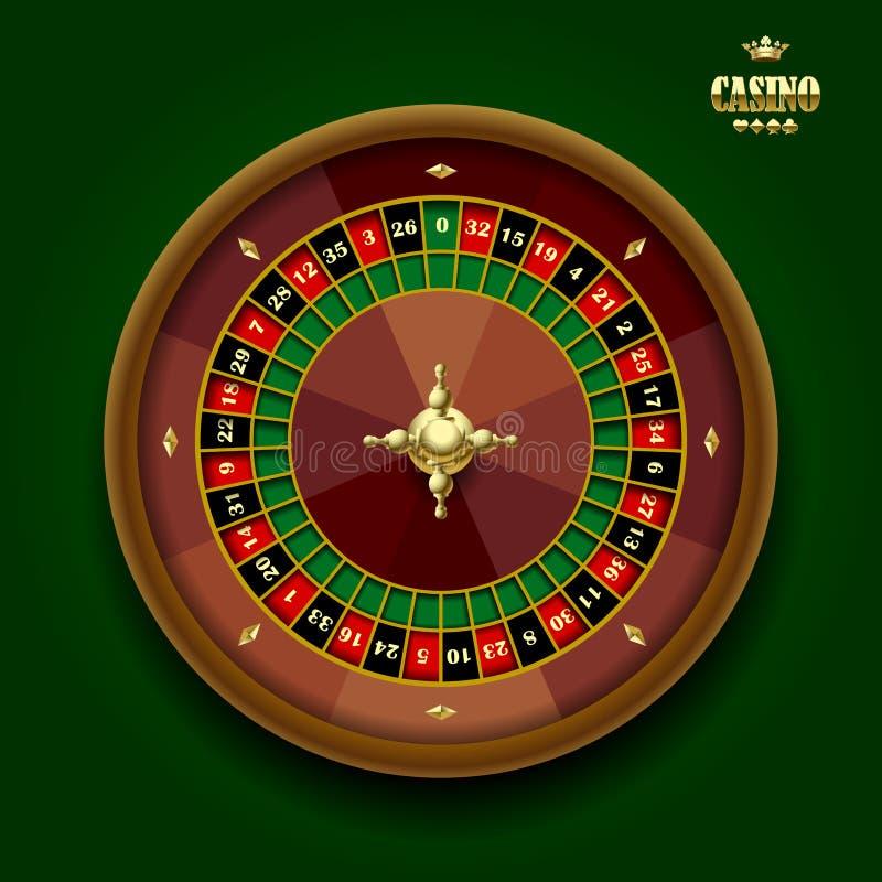 Casino roulette wheel. On dark green background. Vector illustration royalty free illustration
