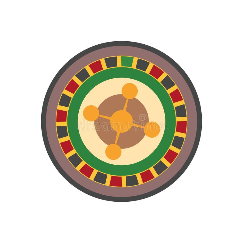 Casino roulette wheel flat icon vector illustration