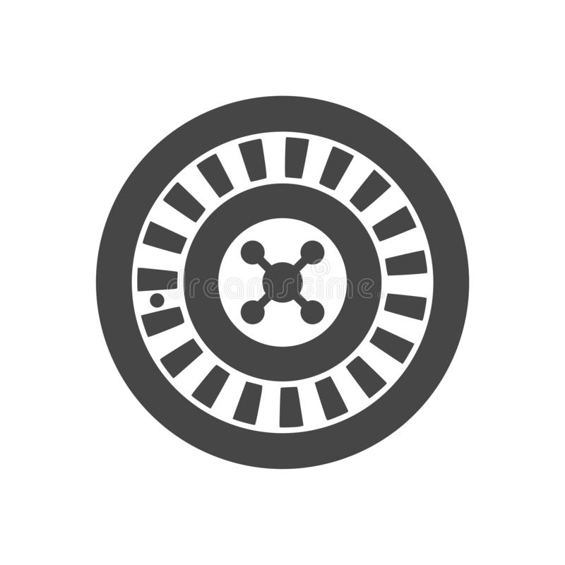 Casino roulette wheel flat icon stock illustration