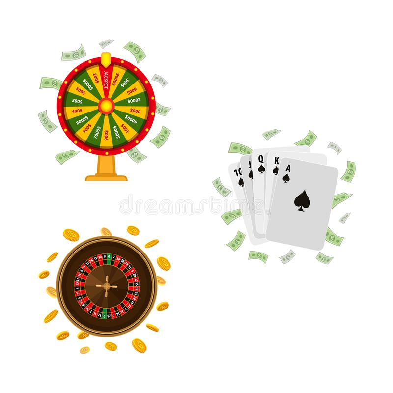 Casino roulette, wheel of fortune, playing cards. Set of casino, gambling symbols - roulette, wheel of fortune and playing cards, vector illustration isolated on vector illustration