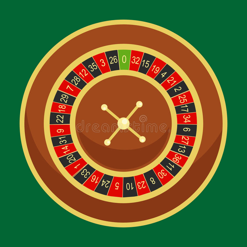 Casino roulette wheel go round for risk game in vegas, lucky gambling fortune, play in betting for chance on win. Isolated vector illustration royalty free illustration