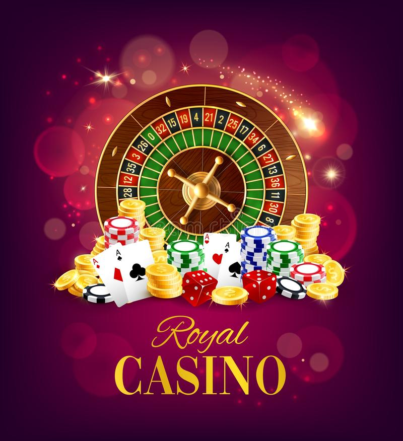 Casino roulette wheel, golden coins and chips. Royal casino, wheel of fortune and gambling dices, poker playing cards on blurred purple. Vector gamble game royalty free illustration