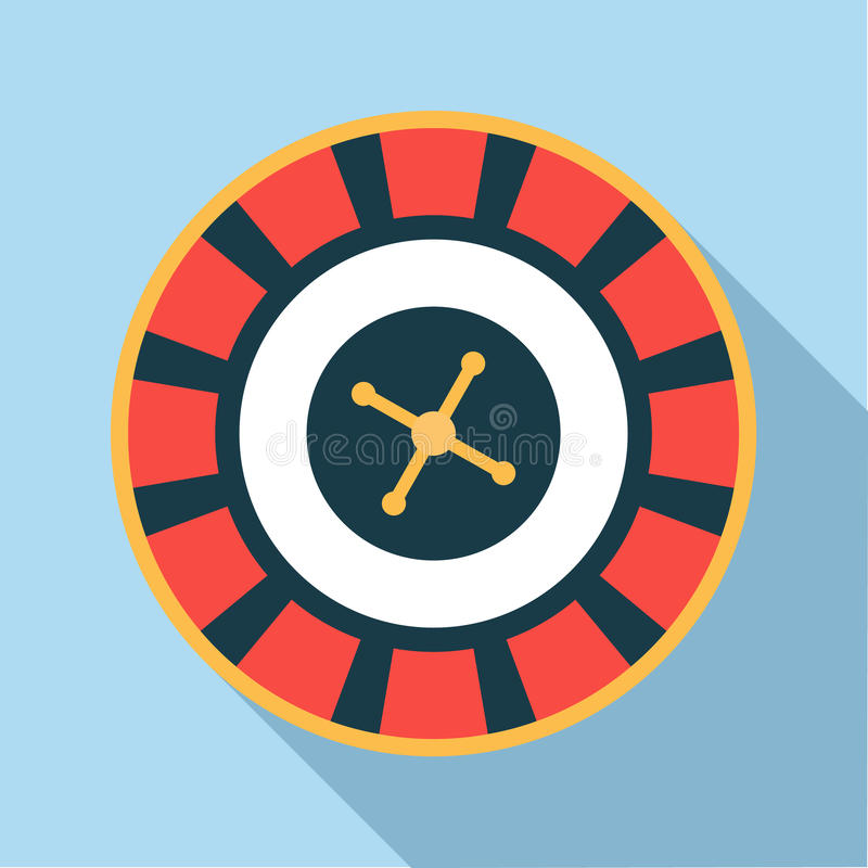 Casino roulette wheel icon, flat style vector illustration