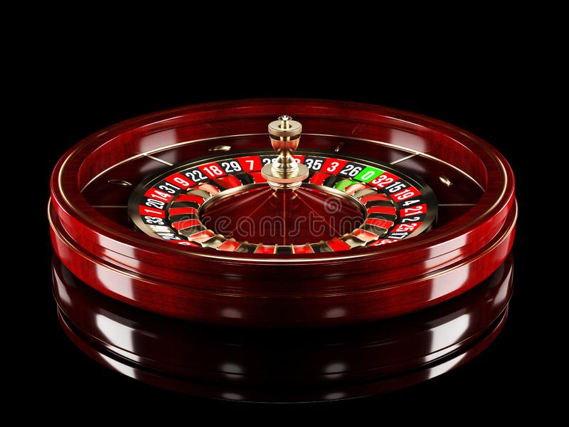 Casino roulette wheel isolated on black background. 3d rendering realistic illustration. Online casino roulette gambling. Concept design stock illustration