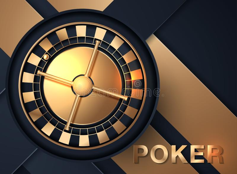 Casino roulette wheel isolated on blue background. 3d realistic vector illustration. Online poker casino roulette gambling concept royalty free illustration