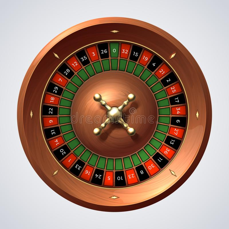 Casino roulette wheel. Isolated gambling wooden red spin, lucky game jackpot. 3D realistic roulette spin wheel royalty free illustration