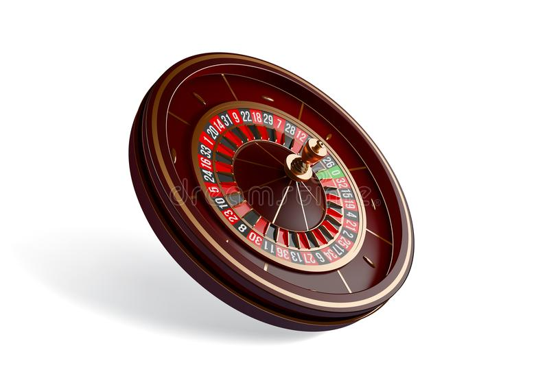 Casino roulette wheel top view isolated on white background. 3d vector illustration. Casino roulette wheel isolated on white background. 3d realistic vector vector illustration
