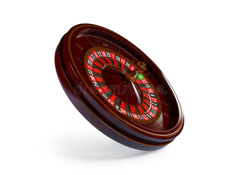 Casino roulette wheel isolated on white background. 3d rendering illustration vector illustration