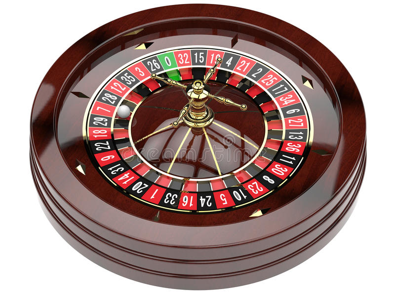 Casino roulette wheel. Casino roulette isolated on white. 3D render stock illustration
