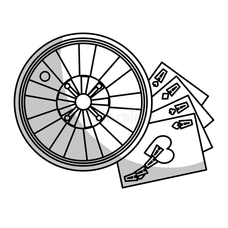 Casino roulette wheel. And poker cards over white background. gambling games design. illustration royalty free illustration