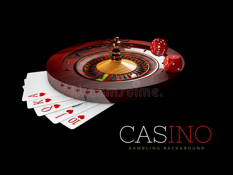 Casino Roulette Wheel with pokers cards and casino Dices. isolated black, 3D Rendering.  vector illustration