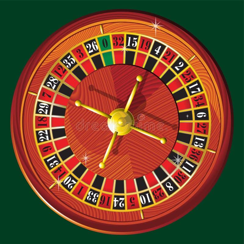 Casino roulette wheel. Realistic illustration of American casino roulette wheel on green background vector template vector illustration
