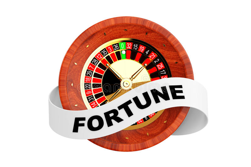 Casino Roulette Wheel with Ribbon Banner and Fortune Sign. 3d Re. Casino Roulette Wheel with Ribbon Banner and Fortune Sign on a white background. 3d Rendering vector illustration
