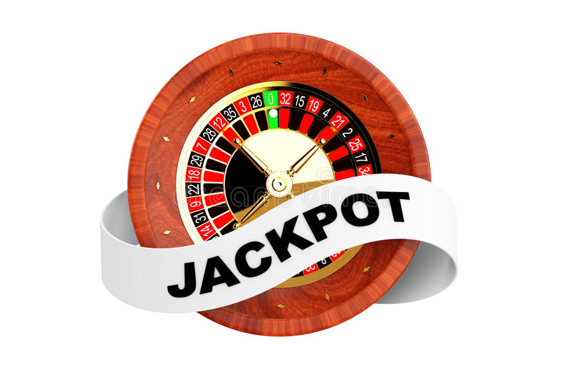 Casino Roulette Wheel with Ribbon Banner and Jackpot Sign. 3d Re. Casino Roulette Wheel with Ribbon Banner and Jackpot Sign on a white background. 3d Rendering vector illustration