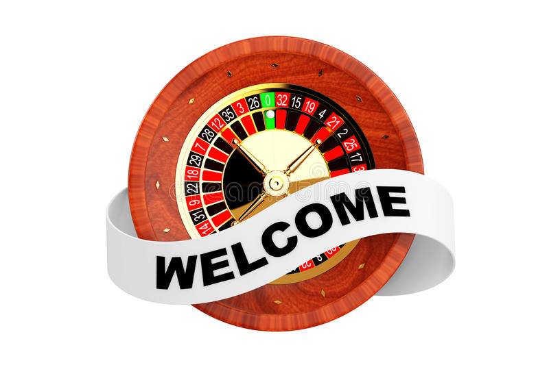Casino Roulette Wheel with Ribbon Banner and Welcome Sign. 3d Re. Casino Roulette Wheel with Ribbon Banner and Welcome Sign on a white background. 3d Rendering royalty free illustration