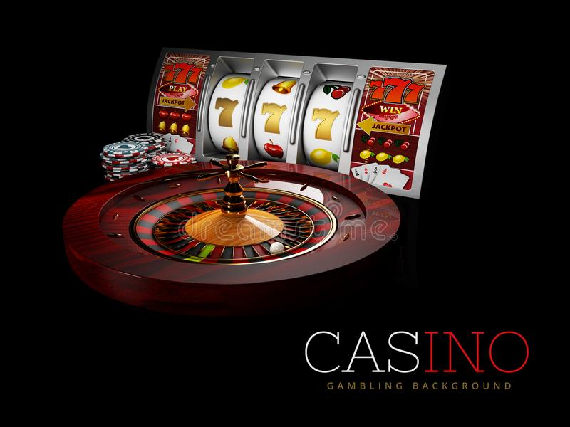Casino Roulette Wheel with silver slot machine and casino chips. isolated black, 3D Rendering.  vector illustration