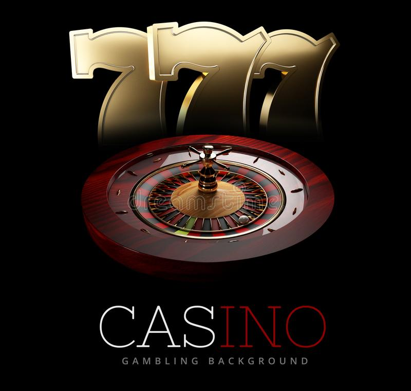 Casino Roulette Wheel with a slot machine signs. isolated black, 3D Rendering. Casino Roulette Wheel with a slot machine signs. isolated black, 3D Rendering vector illustration