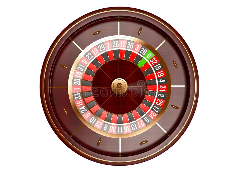 Casino roulette wheel top view isolated on white background. 3d rendering illustration royalty free stock image