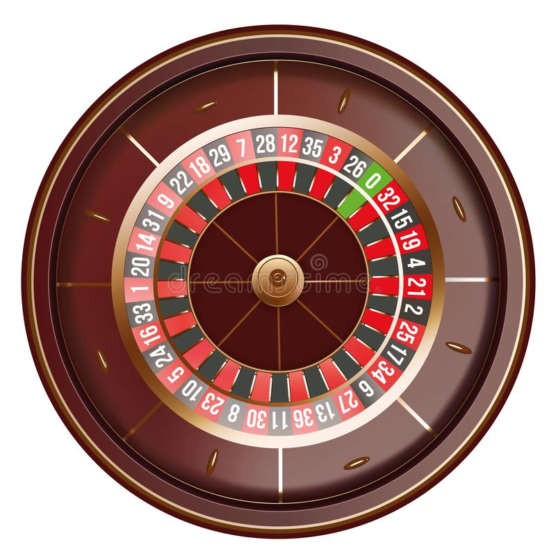Casino roulette wheel top view isolated on white background. 3d vector illustration.  stock illustration