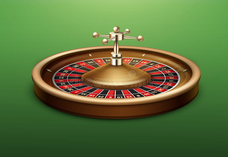 Casino roulette wheel. Vector realistic casino roulette wheel side view on green poker table stock illustration