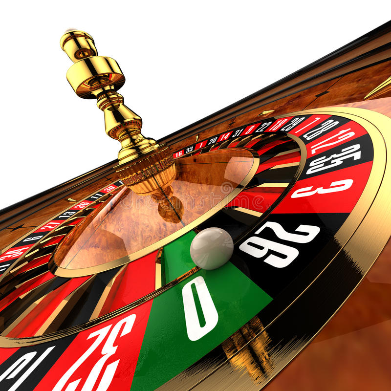 Casino Roulette on white. Roulette at the casino, as if photographed by a wide-angle, close-up on the ball, just about ready to fall to zero royalty free illustration