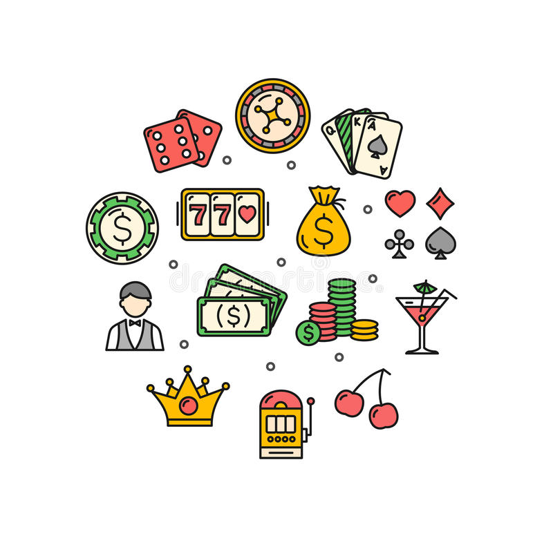Casino Round Design Template Thin Line Icon. Vector. Casino Round Design Template Thin Line Icon Set Isolated on White Background. Vector illustration vector illustration