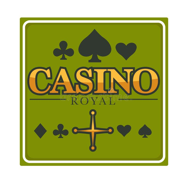Casino royal club isolated icon, gambling and play cards suits. Gambling, casino royal club isolated icon, poker play card suits vector. Roulette wheel vector illustration
