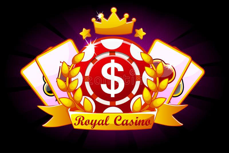 Casino Royale-Fahne mit Band und Krone, Ikone und Text Symbolschürhaken, 777, Spielkarten und Spielchip Vektor vektor abbildung