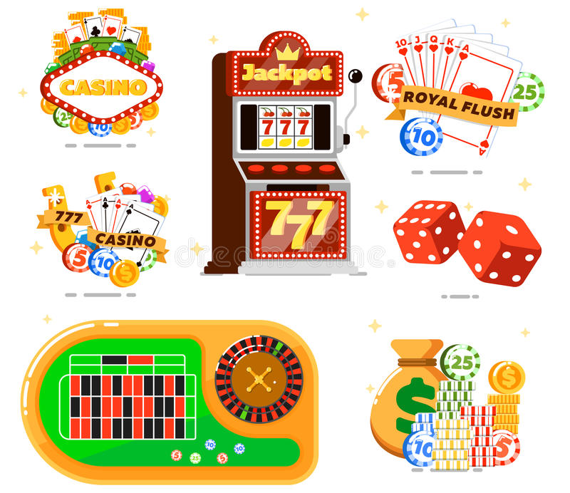 Casino set with poker club. Isolated vector illustration. Casino slot machine, dice, playing cards, poker gambling chips, money, roulette table. Games of chance royalty free illustration