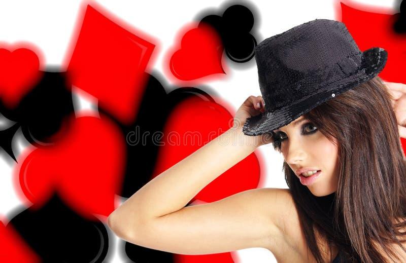 Casino showgirl stock photo