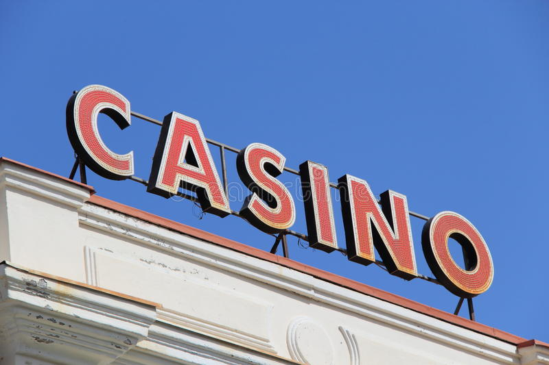 Casino. Sign on blue sky background royalty free stock photo