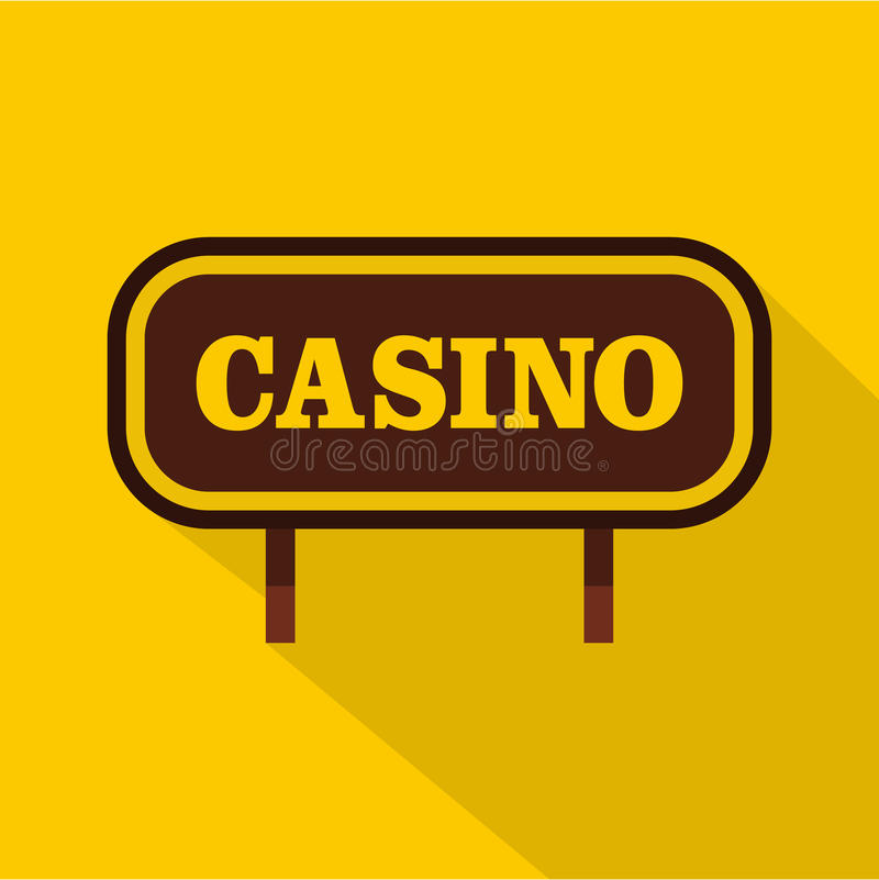 Casino signboard icon, flat style. Casino signboard icon. Flat illustration of casino signboard vector icon for web isolated on yellow background stock illustration