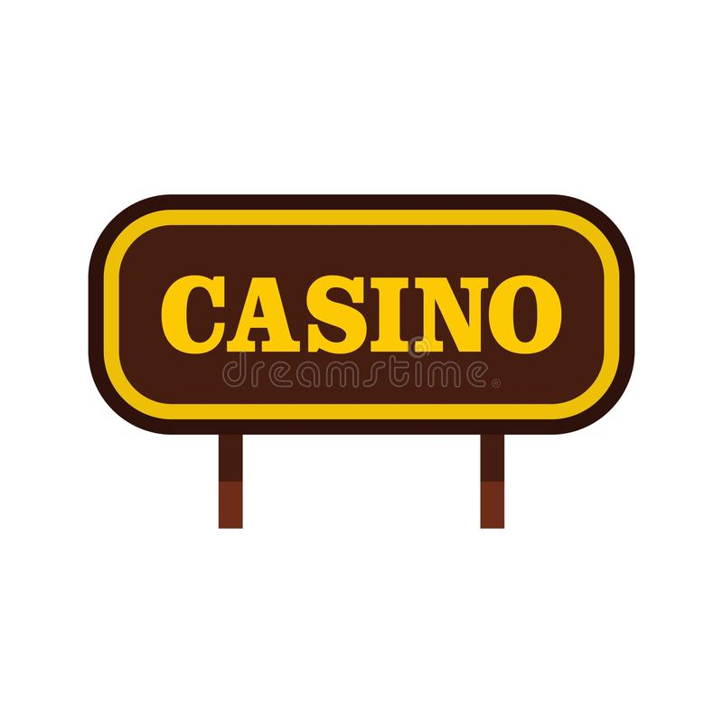 Casino signboard icon, flat style. Casino signboard icon isolated on white background vector illustration stock illustration
