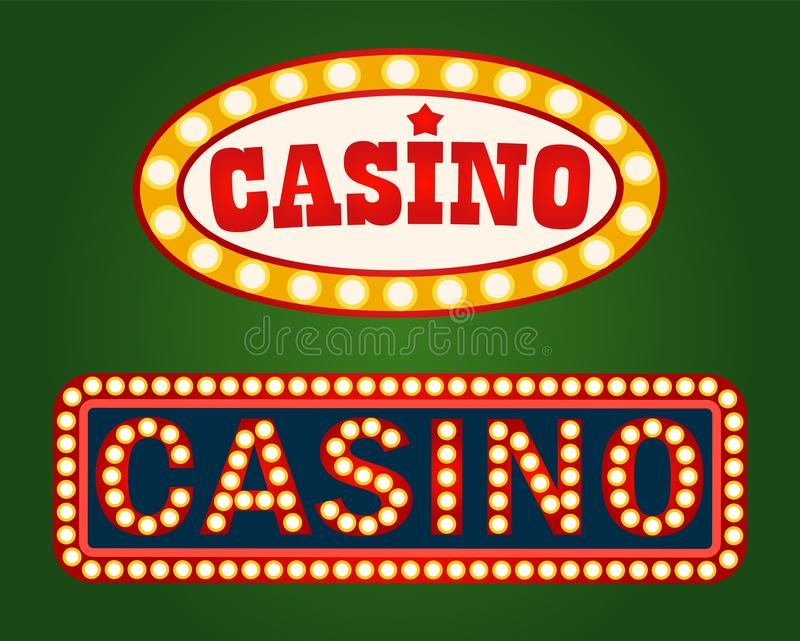 Gambling Advertisement, Casino Signboard Vector. Casino signboard with lightbulbs, gambling billboard on green. Poker or roulette board with neon light stock illustration
