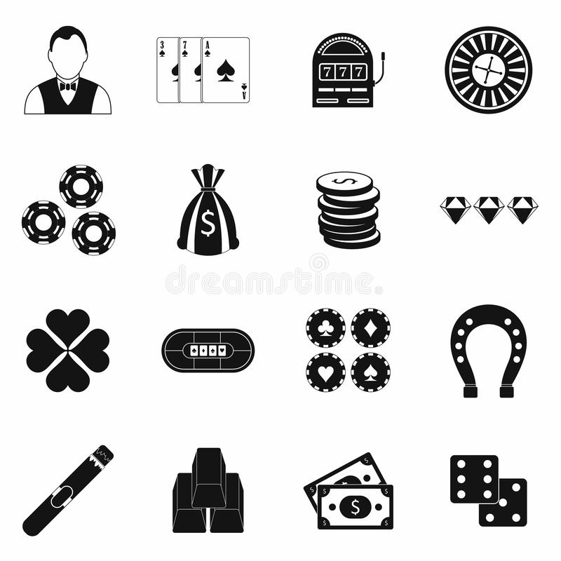 Casino simple icons royalty free illustration