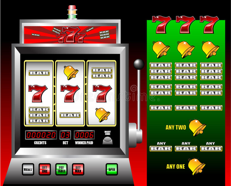 Casino slot machine. With lucky seven font